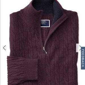 Wine zip neck lambswool cable knit sweater LARGE NWT